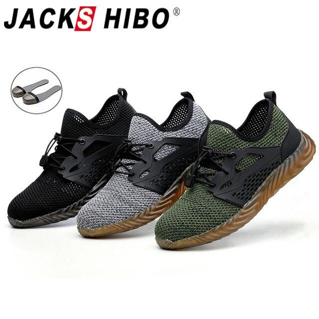 JACKSHIBO Veiligheid Schoenen Laarzen Voor Mannen Mannelijke Zomer Ademend Werkschoenen Stalen Neus Mannelijke Bouw Veiligheid Werk Sneakers