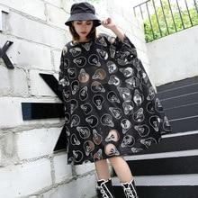 Women Oversized Bat Short Sleeve Mesh Bulb Perspective Sexy Tshirt Dress Female Streetwear Gothic Loose Casual Dresses Summer