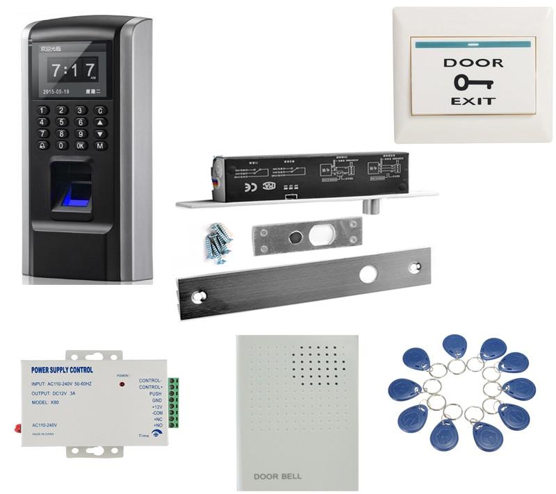 TCP/IP RJ45 Fingerprint Access Control System Fingerprint electric drop bolt deadbolt Gate Door Lock Access Control kit biometric fingerprint access controller tcp ip fingerprint door access control reader
