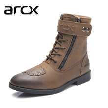 ARCX Cow Leather Motorcycle Riding Retro Ankle Boots Street Moto Racing Motorbike Touring Biker Vintage Leisure Brown Shoes Men