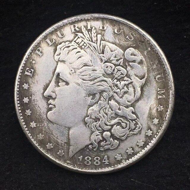1884 EE. UU. Reina Morgan moneda de plata decoración del hogar accesorios de la colección de monedas de China de regalo de Feliz Navidad