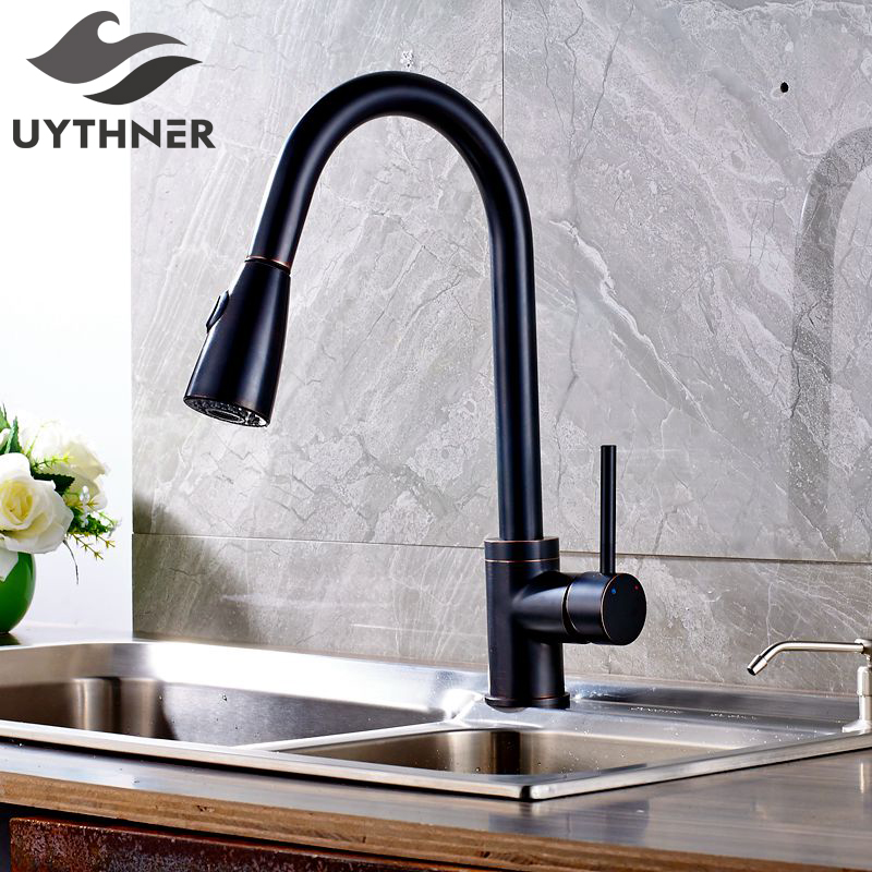 Uythner Luxury Pull Out Oil Rubbed Bronze Finish Kitchen Faucet Mixer Tap Single Hole Deck