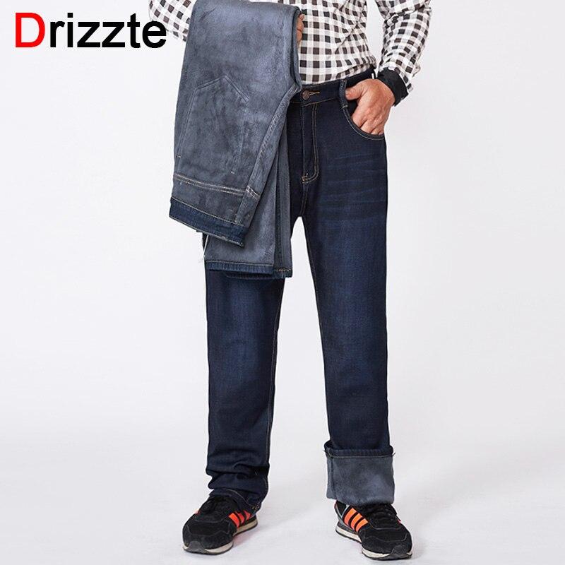 Drizzte Inverno Caldo Flanella Foderato Stretch Jeans Slim Fit Pantaloni Pantaloni Grande e Grosso 40 42 44 46 48 50 52 dei jeans degli uomini Dei Jeans