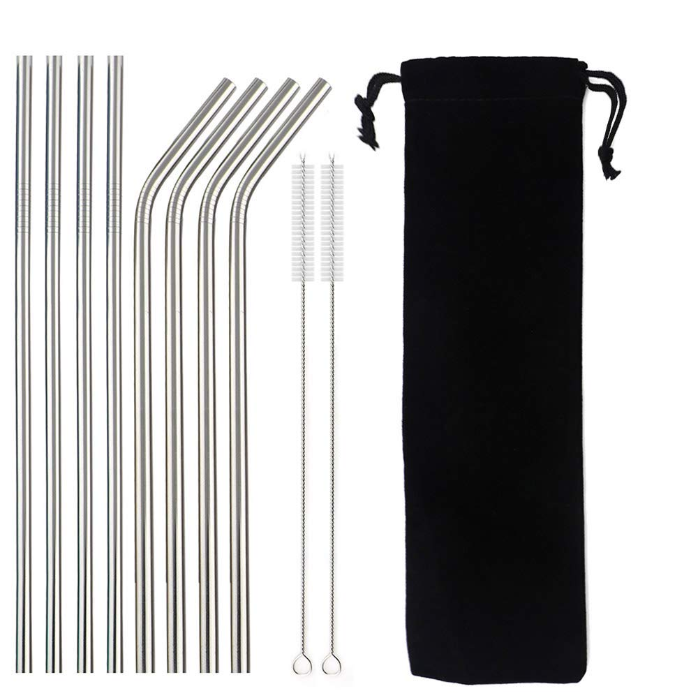 Paille à boire réutilisable en argent arc-en-ciel | 4/8 pièces paille métallique en acier inoxydable 304 avec brosse et sac de nettoyage de haute qualité