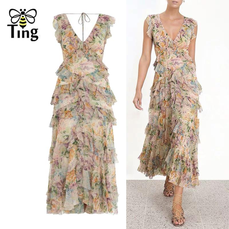 Tingfly 2019 Summer Designer Runway Sexy V neck Cascading Ruffles Dress Luxury Party Dresses Boho Tulip Floral Casual Dress New