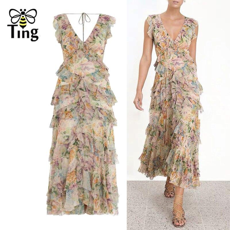 Tingfly 2019 été Designer piste Sexy col en V en cascade volants robe de luxe robes de soirée Boho tulipe Floral tenue décontractée nouveau