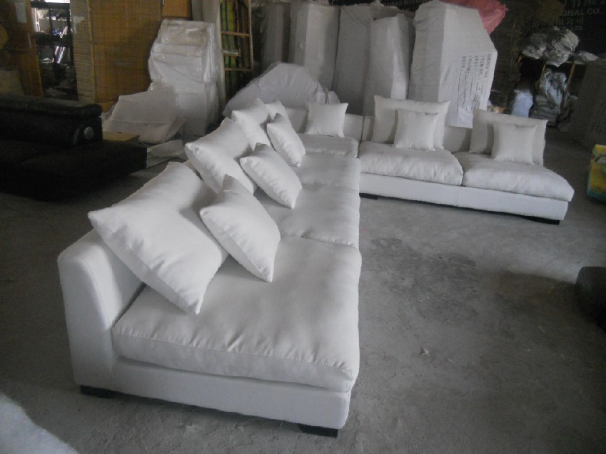 8611 Fabric Sofa Set Living Room Furniture Sofa Sets Home Furniture Sectional Sofa Sets White Color Feather Inside Puff Asiento