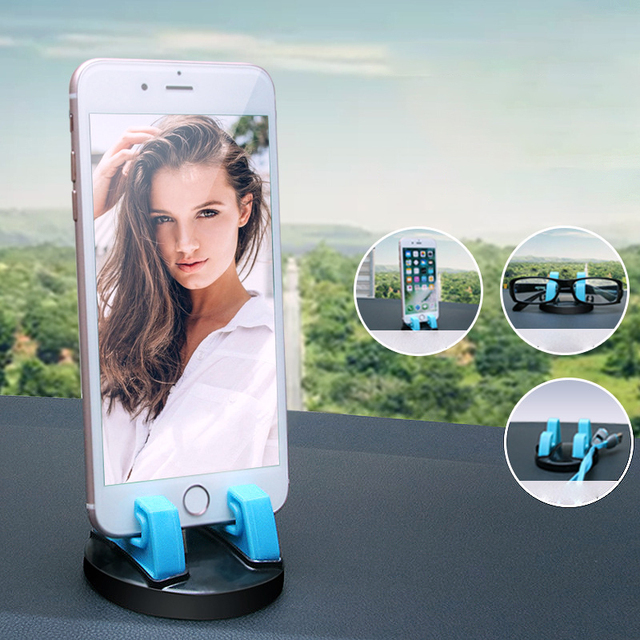 IKSNAIL 360 Degree Car Phone Holder Soft Silicone Anti Slip Mat Mobile Phone Mount Stands Support Car GPS Dashboard Bracket 3