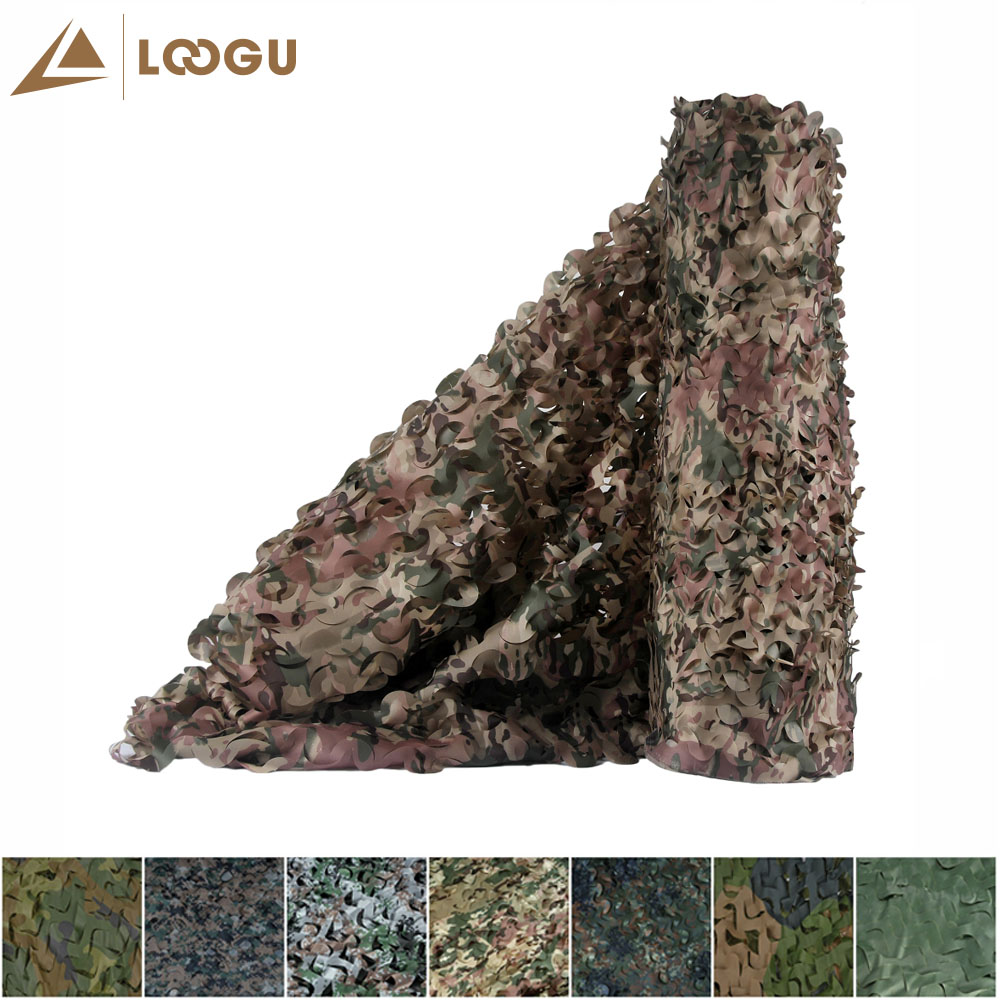 LOOGU E 2M*1.5M Car Tent Woodland Camouflage Net Mesh Hunting Camo Without Edge Binding And Mesh Net Blinds For Sunshade Camping lettuce edge glitter mesh tee