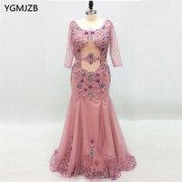 Luxury Long Evening Dresses 2018 Mermaid 3 4 Sleeves Bead Crystal Pink Women Formal Party Evening