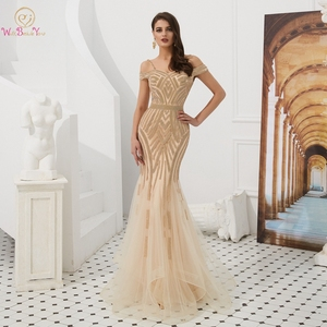 Image 1 - אירוסין ערב שמלות אלגנטי מפלגה חרוזים ריינסטון רוז זהב בת ים קצר שרוולים ספגטי רצועה ארוך נשף שמלה פורמלית