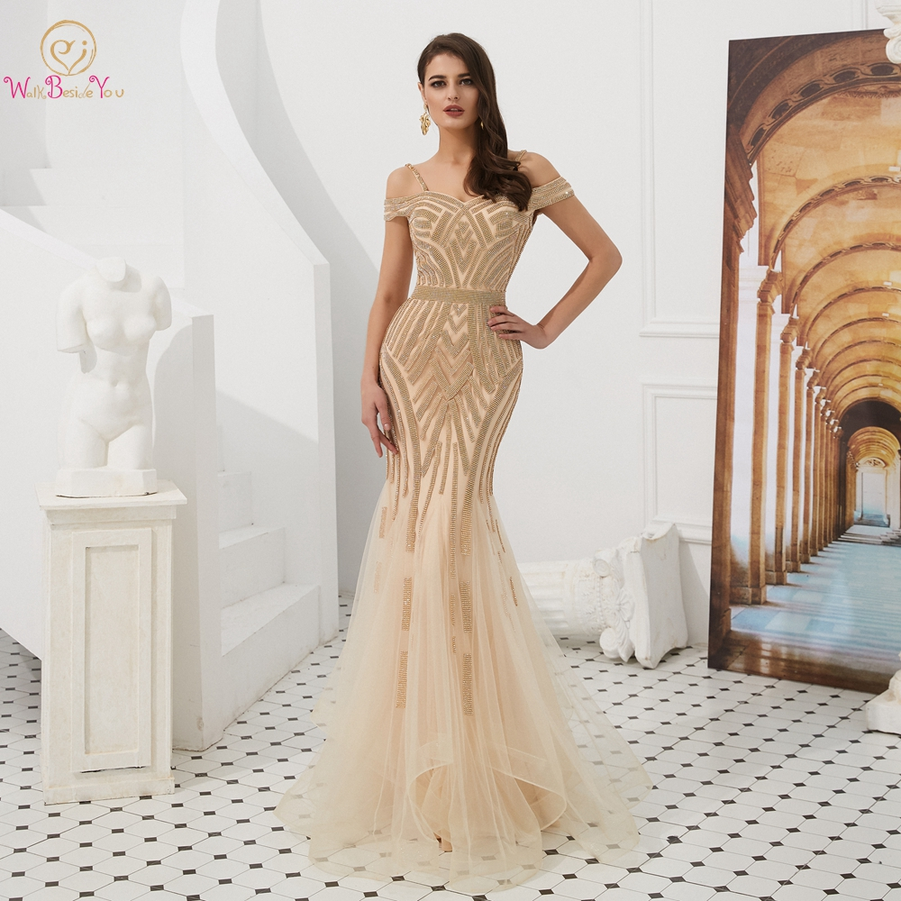 Engagement   Evening     Dresses   Elegant Party Beaded Rhinestone Champagne Mermaid Short Sleeves Spaghetti Strap Long Prom Formal Gown
