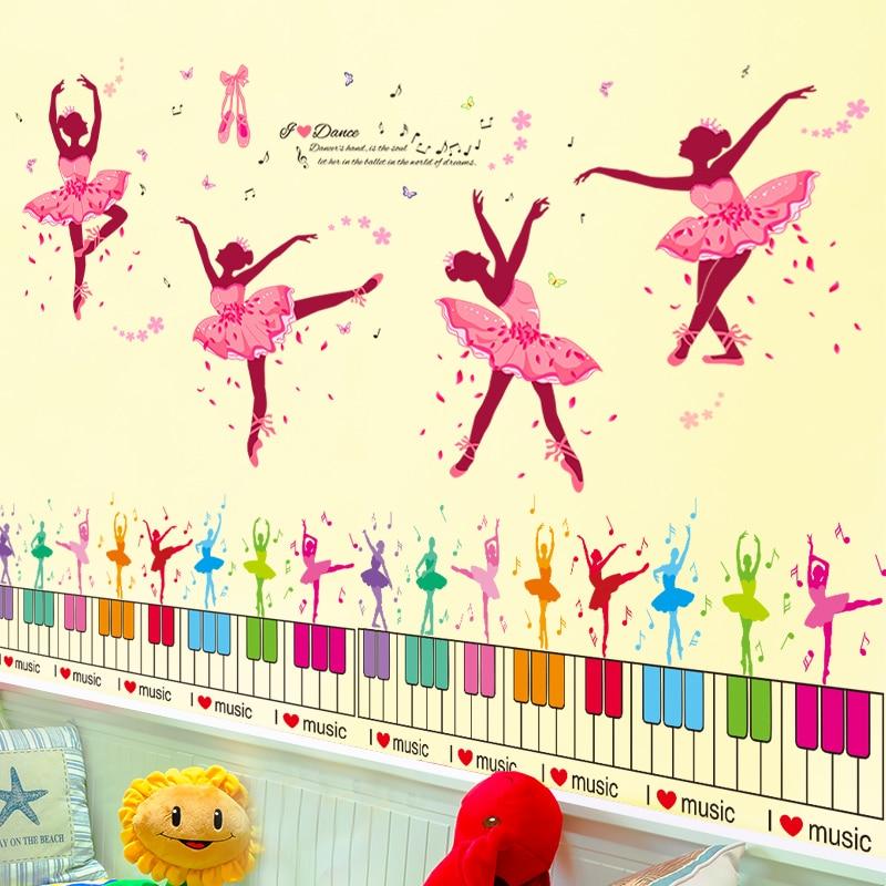 SHIJUEHEZI] Colorful Ballet Girl Wall Stickers Vinyl DIY Dancers ...