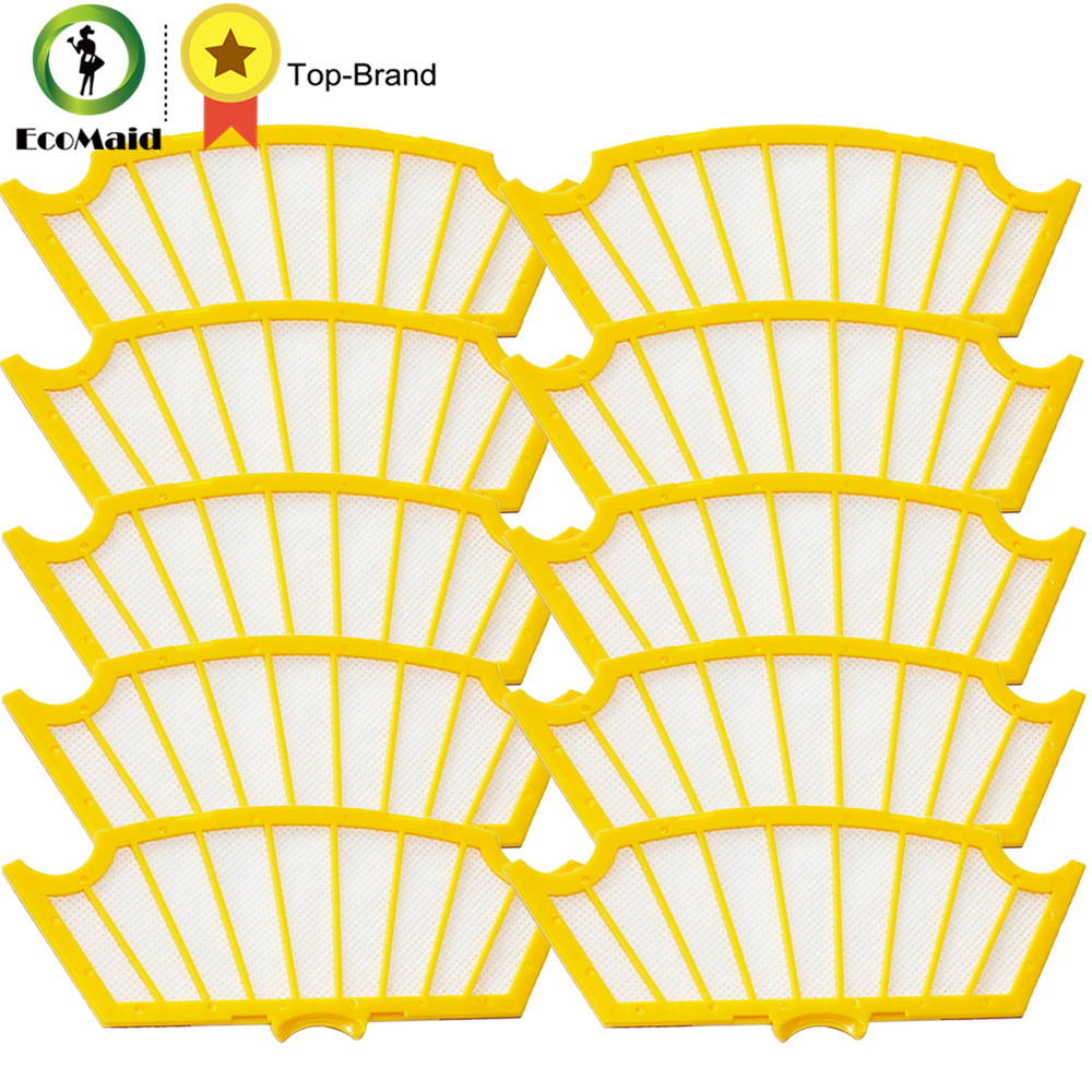 10pcs Yellow Filter For iRobot Roomba 500 Vacuum Robots 550 560 530 540 550 580 Vacuum Cleaner 500 Series Filter 81502 Replace 1 piece robot hepa filter replacement for irobot roomba 500 series 520 530 540 550 560 vacuum cleaner parts