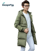 2017 winter men's long cotton  thickening hooded solid men winte Cotton clothing high quality fabric fashion loose warm 3XL WM34
