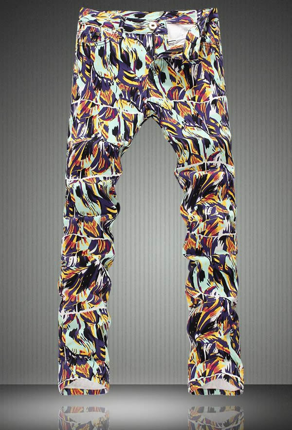 Fashion Novelty Graffiti Print Men Slim Jeans Fashion Colorful Pencil Pants
