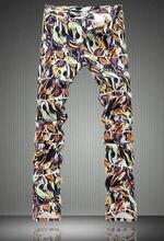Fashion  Novelty Graffiti Print Men Slim Jeans Fashion Colorful Pencil Pants