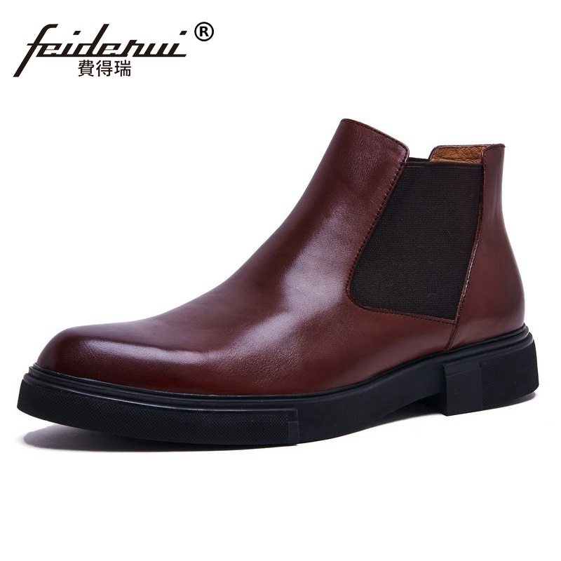 Fashion Round Toe Brand Man Platform Office Shoes Male British Designer Genuine Leather Mens Cowboy Chelsea Ankle Boots NC94Fashion Round Toe Brand Man Platform Office Shoes Male British Designer Genuine Leather Mens Cowboy Chelsea Ankle Boots NC94