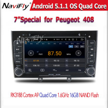7″ Quad Core Android 5.1 OS Special Car DVD for Peugeot 308 I (T7) 2008-2011 & Peugeot 408 2010-2011 with 1024*600 Resolution