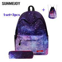 SUNMEJOY 3pcs Sets Women School Bags Universe Space Printing Backpack School Bags for Teenager Girls Drawstring Bag Pencil Case