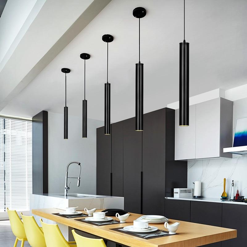 28cm/48cm Free Shipping Modern Nordic Black/Silver Aluminum Long Column Pedant Light for Bar/Living Room Home Lamp PLL-377 ...
