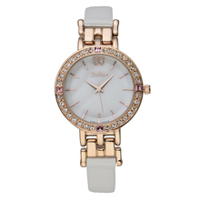 Julius Lady Women s Watch Japan Quartz Hours Best Fashion Dress Shell Leather Bracelet Girl Rhinestone