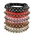 9 Colors 2.5cm Width PU Leather Pet Collar Round Spikes Studded Dog Collars for Small Medium Dogs XS/S/M/L