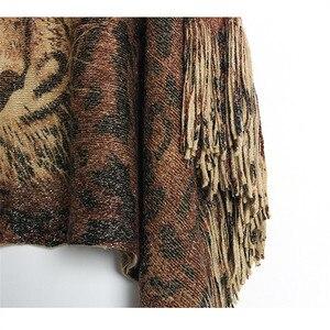 Image 4 - New Female Warm Scarf Tiger Head Print Silver Wire Shawl Wrap Cashmere Feel Poncho Cloak Womens Autumn Winter Warm Capes Coat