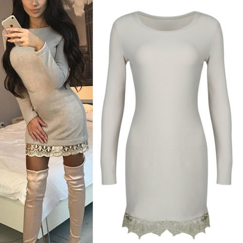 ef30585120bf Women Lace Up Jumper Mini Dress Long Sleeve Sexy Ribbed Knitted Bodycon  Party Clubwear Sweater Dresses