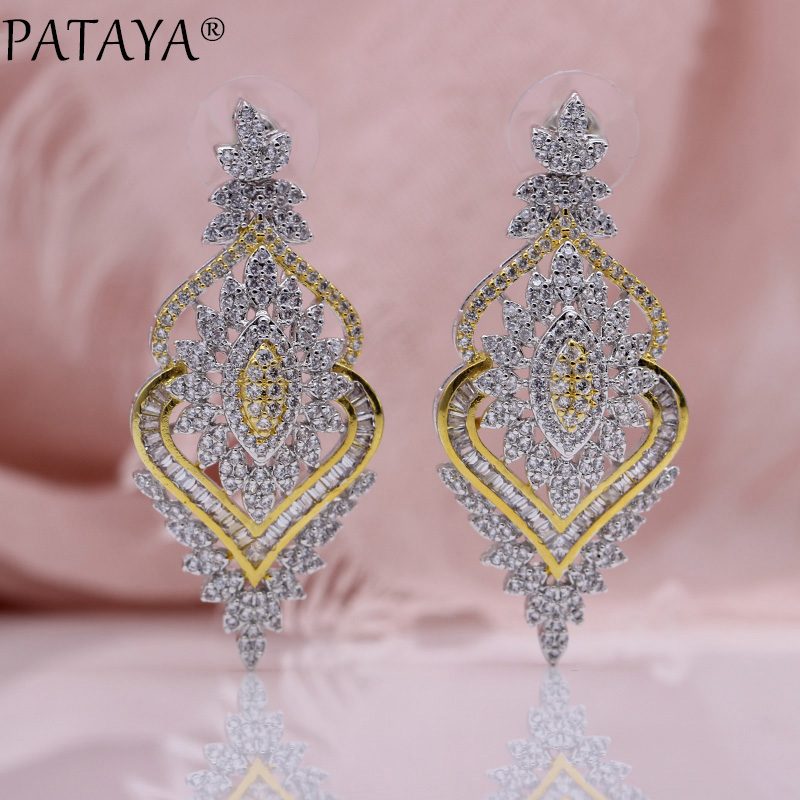 PATAYA New Double Heart Long Stud Earrings Women Rose Gold Fashion Jewelry Micro Wax Inlay White Natural Zircon Luxury Earrings недорго, оригинальная цена