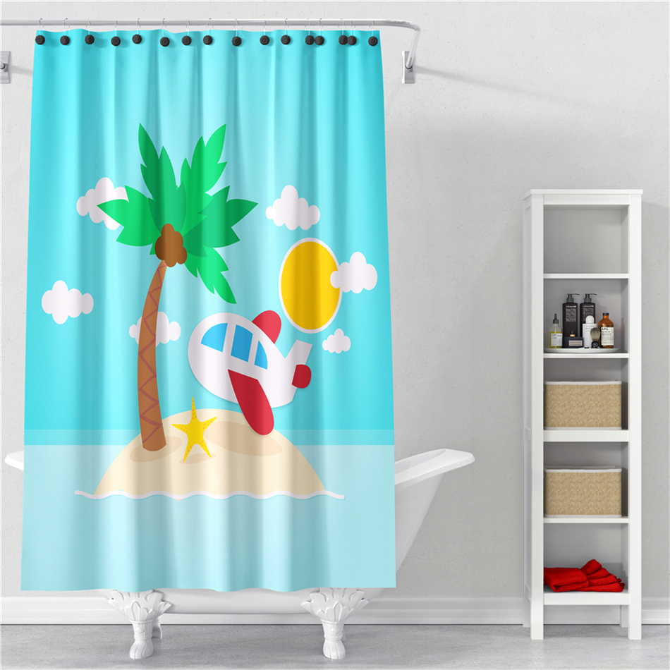 Sunny Beach Scenery Shower Curtain Cartoon Airplane Blue Sky Bathroom Decoration Polyester Waterproof Bath Curtains Home Textile In From