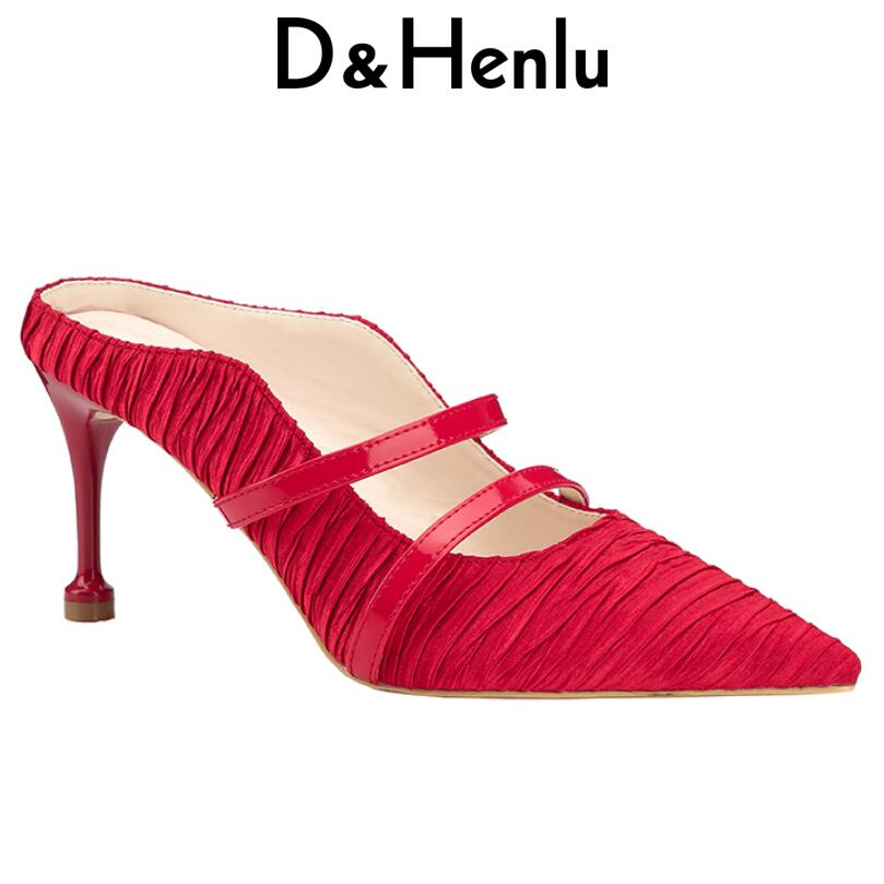 все цены на {D&Henlu} Mules Shoes Women Leather Dress Pumps Ladies Heels New 2018 Summer Shoe Woman Pumps Pointed Toe Heel Mules High Heels