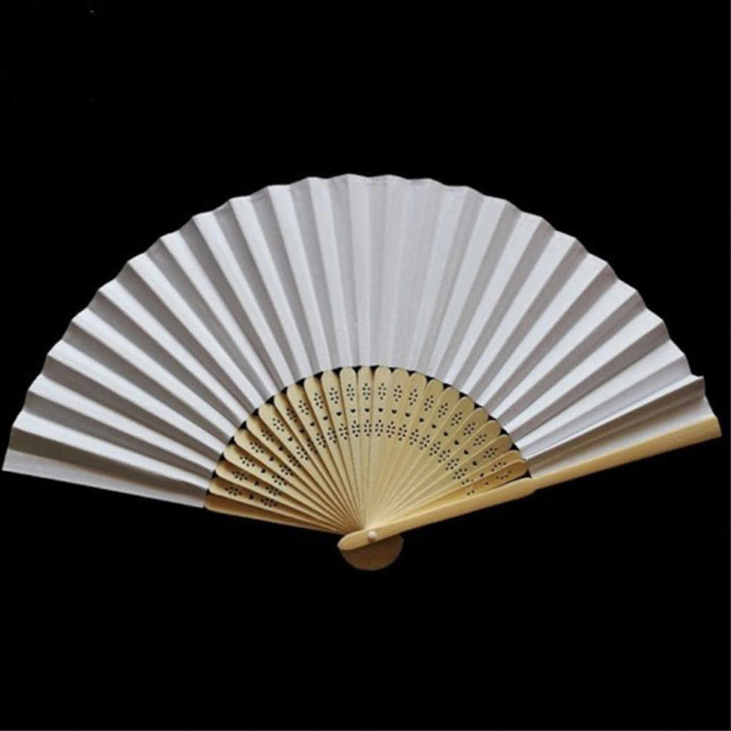 chinese hand fans Pattern Folding fan wood Dance Wedding Party Lace Silk Folding Hand Held Solid Color fan paper hand-held fan