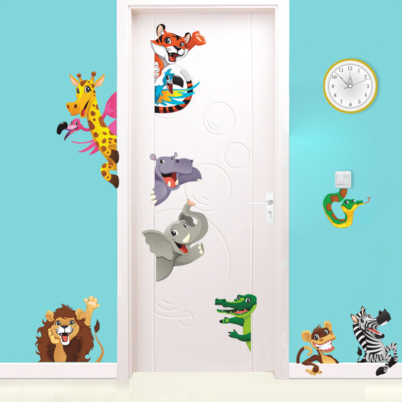 3d Cartoon Animals Door Stickers For Kids Room Bedroom Home Decoration Diy Safari Wall Decal Lion Elephant Zebra Mural Art