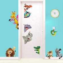3d Cartoon Animals Door Stickers For Kids Room Bedroom Home Decoration Diy Safari Wall Decal Lion Elephant Zebra Mural Art
