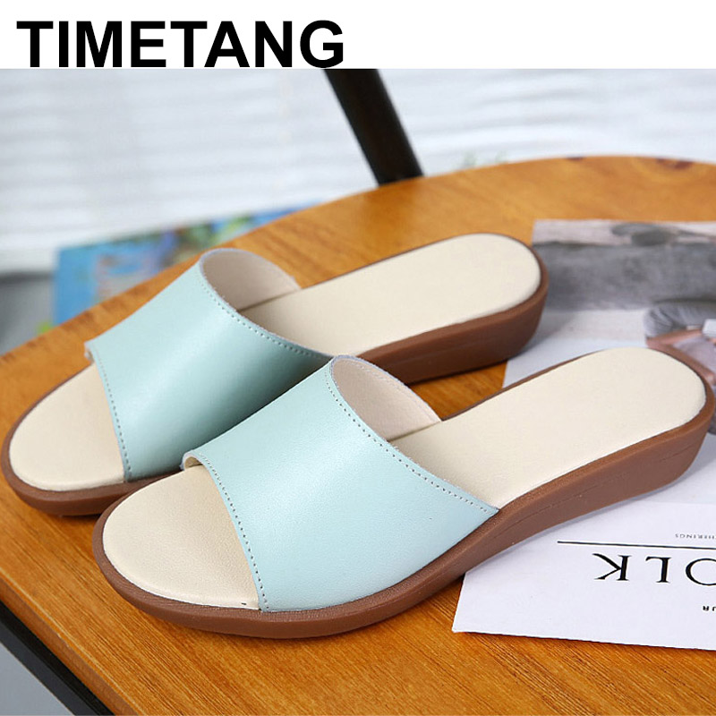 TIMETANG Summer Woman Sandals Slope with Flip Flops Genuine Leather mother Slippers Simple and Comfortable Women Beach ShoesC303 2016 summer korean version of the large size flip flops women slippers with a simple slippery beach sandals