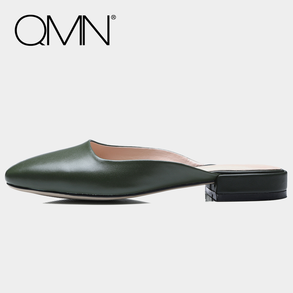 QMN genuine leather women slippers Women Glossy Leather Square Toe Summer Mules Slip On Casual Shoes Woman Slides Size 34-43 qmn women crystal embellished natural suede brogue shoes women square toe platform oxfords shoes woman genuine leather flats