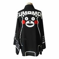 Anime Kumamon Kimono Cosplay Halloween Party Costume Cloak Haori Black Chiffon Coat
