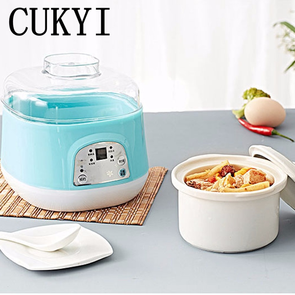 CUKYI Electric Slow Cooker White Porcelain 120w Mini Fully Automatic Baby Soup Pot Bird's Nest Stew Pot blue 0.7L porridge