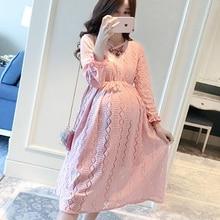 Robes de maternité Dentelle Évider Jurken Gravida Solide Une Ligne Hamile Elbisesi Mode Doux Grossesse Robe en dentelle de maternité robe