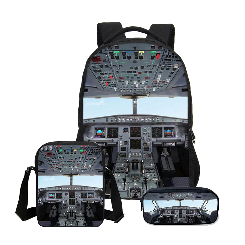 3 PCS/SET Backpacks 3D Aircraft Cabin Printing Bookbag Children Shoulder Bag Canvas Backpack Boys School Bag