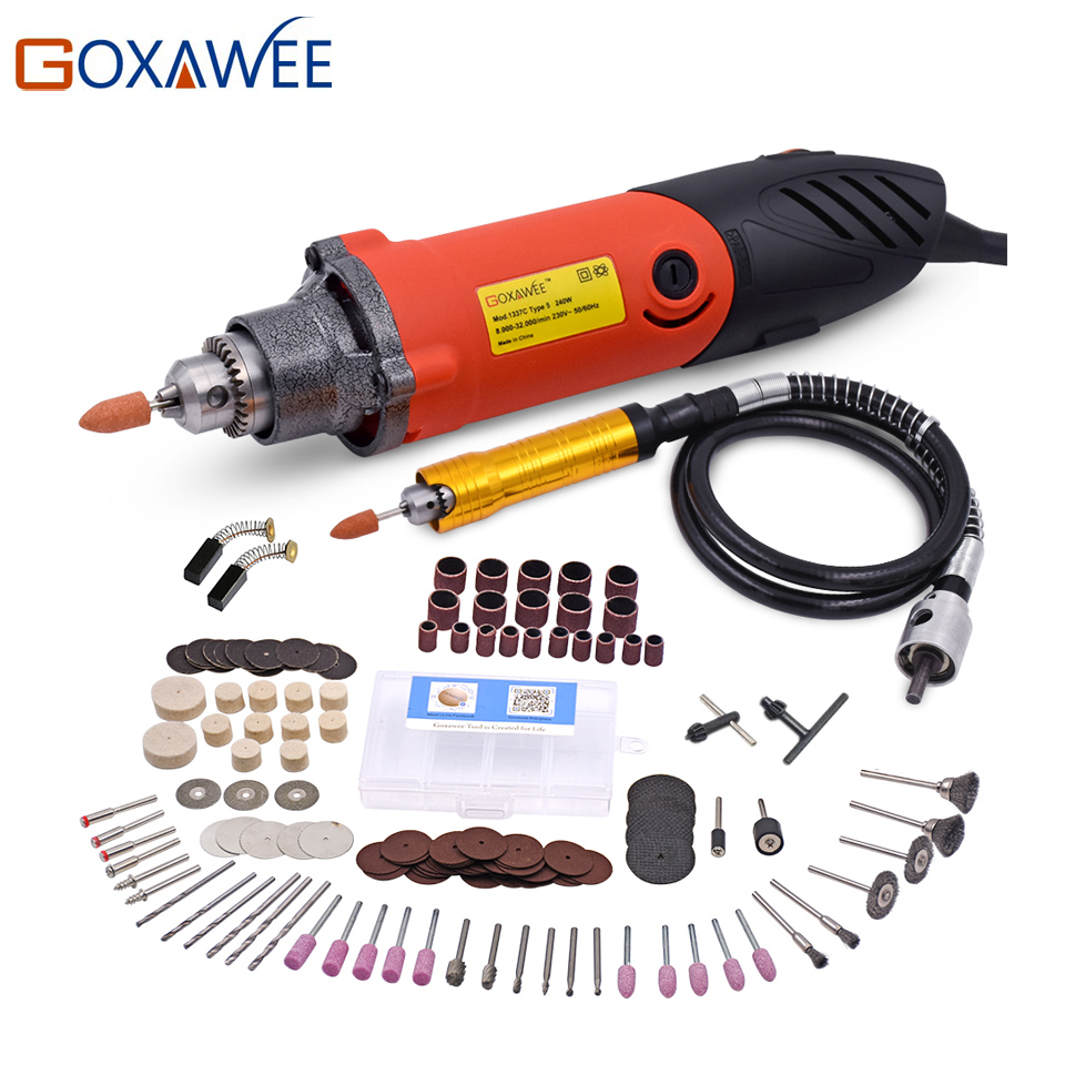GOXAWEE 240W Mini Electric Drill for Dremel Style Power Rotary Tool Die Grinder With Flexible Shaft Abrasive Tool Drill Electric 80pcs electric rotary drill grinder polish sanding tool set kit dremel bit case with box