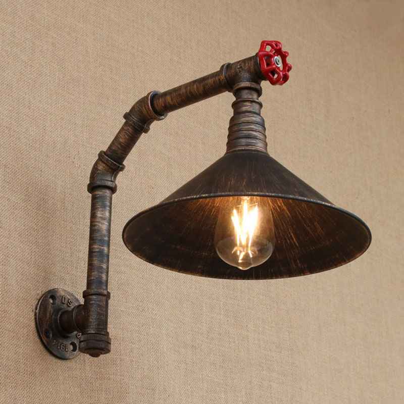 Industrial loft iron rust Water pipe retro wall lamp E27 sconce wall lights with switch for bedroom living room kitchen bar