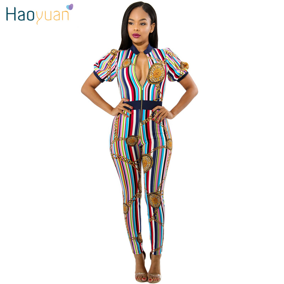 HAOYUAN Women Jumpsuits Summer Front Zipper Striped Chain Printed Rompers Womens Jumpsuit Sexy Party Club Overalls Full Bodysuit