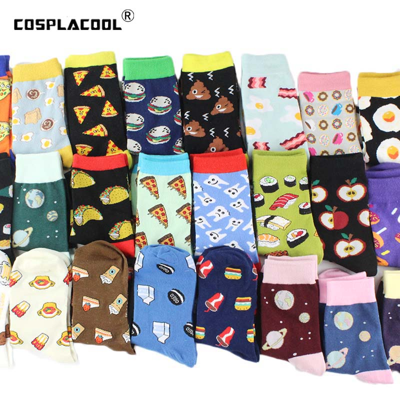 [COSPLACOOL]Harajuku Funny Socks Food Hamburg/Pizza/Sushi Cute Socks Women Divertidos Milk Creative Life Sokken Chaussette Femme