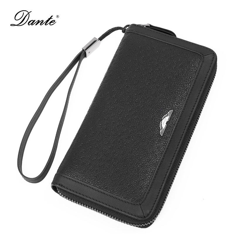 DANTE Genuine Leather Men Wallets Business Card Holder Long Mens Wallet Clutch Coin Purse QB4003 new business men s wallet long zipper purse genuine leather wallets section of the multicard handbag men card holder coin purse