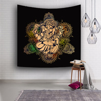 Tribal Elephant mandala Tapestry Animal Boho Golden Printed Wall Hanging Ethnic Indian God Art Carpet Decorative Tapestry