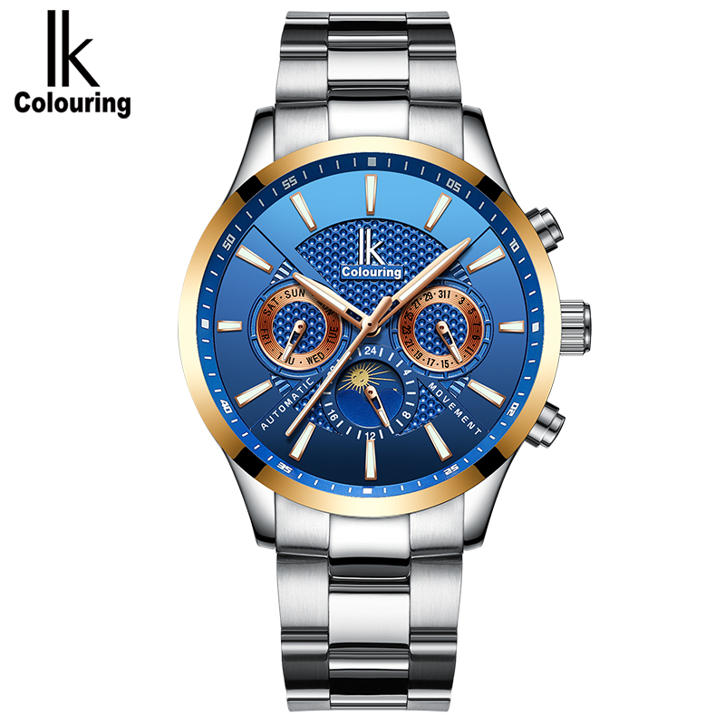 IK Colouring Men Watch Classic Casual Stainless Steel Strap Wrist Watch LuminousIK Colouring Men Watch Classic Casual Stainless Steel Strap Wrist Watch Luminous