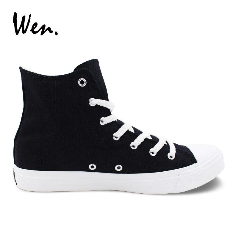 Wen chaussures personnalisées méduses chaussures en toile peintes à la main garçons filles baskets hautes noires sangles croisées Plimsolls à talons bas plat - 3