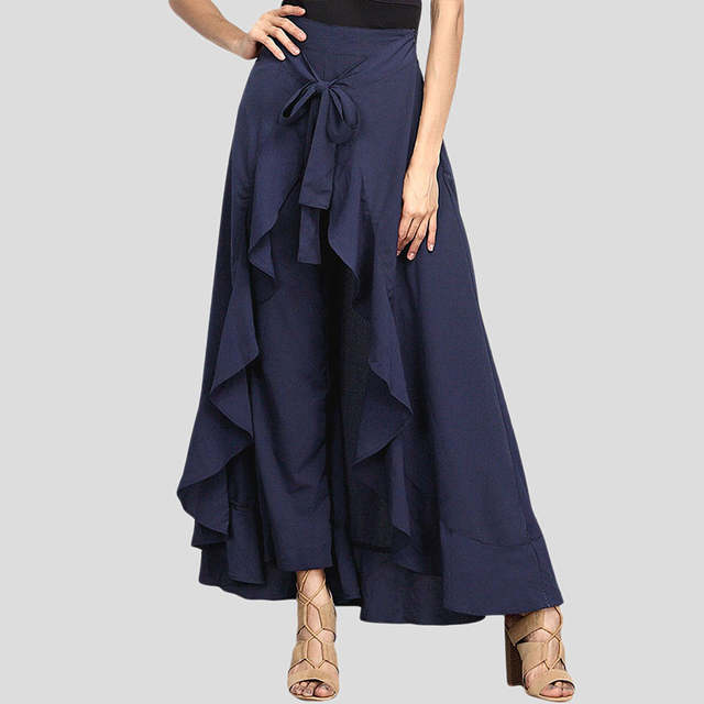 de670fe44 US $27.68 |NEW Skirt 2018 Women's Chiffon High Split Tie Waist Ruffle Long  Loose Palazzo Pants Overlay Skirt High waist Folds Clothes For W-in Skirts  ...